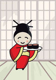 Japanese girl with sushi. Vector illustration Royalty Free Stock Image