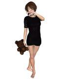 Japanese Girl with Teddy Bear Royalty Free Stock Photo