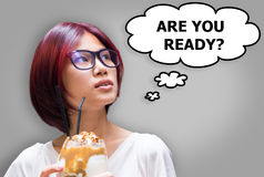 Japanese girl think if are you ready Royalty Free Stock Photo