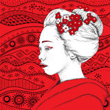 Japanese girl in traditional clothing. Geisha. Vector illustration Stock Photos