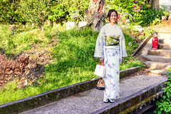 Japanese girl with traditional Kimono at Philosopher`s Walk in Kyoto, Japan Royalty Free Stock Image