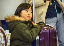 Japanese girl on a train Stock Photography