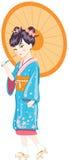 Japanese girl with umbrella. Illustration vector illustration
