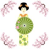 Japanese girl with umbrella. On white Stock Photography