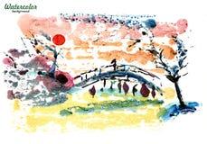 Japanese girl walking over the bridge stock illustration