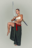 Japanese girl warrior. Royalty Free Stock Photography