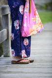 Japanese girl wearing yukata Royalty Free Stock Images