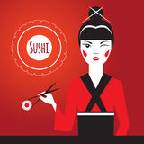 Japanese girl winks and holding sushi with Chopsticks. Advertising character. Stock Photos
