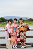 Japanese girls in kimono dress walking Royalty Free Stock Images