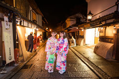 Japanese girls with Kimono at Higashiyama old town Stock Photography