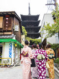 Japanese girls in kimono visiting Kyoto Royalty Free Stock Photo