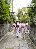 Japanese girls in kimono walking in Kyoto Stock Photo