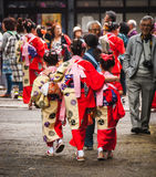 Japanese girls in kimonos Royalty Free Stock Images