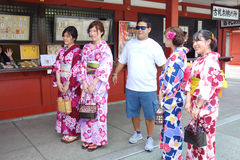 Japanese girls in kimonos Royalty Free Stock Photo