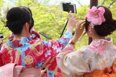 Japanese girls taking selfie Stock Photos