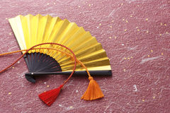 Japanese gold fan for celebration Royalty Free Stock Images