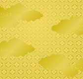 Japanese golden background with cloud and golden powder. Stock Photography