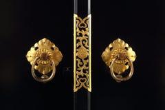Japanese golden door handle. Close-up of japanese golden door handle Stock Photo