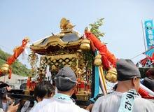Japanese golden portable shrine. In the matsuri festival Stock Image