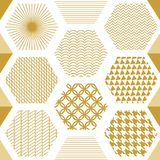 Japanese golden print with hexagons. Seamless vector pattern with different geometric elements. Abstract white background with golden ornaments. Oriental Stock Photos