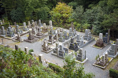 Japanese graveyard at Enkoji Temple in Kyoto, Japan Royalty Free Stock Photos