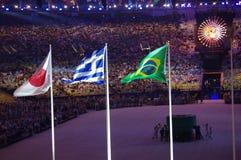 Japanese, Greek and Brazilian flags at Maracana stadium Stock Photography