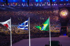 Japanese, Greek and Brazilian flags at Maracana stadium Royalty Free Stock Images