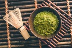 Japanese green matcha tea powder Royalty Free Stock Photos
