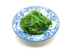 Japanese green seaweed salad on dish Stock Photos