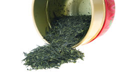 Japanese green tea with caddy Royalty Free Stock Images