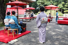 Japanese green tea ceremony in garden Stock Photos