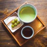 Japanese green tea. And Dango dessert in Uji city,South of Kyoto Japan stock photo