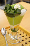 Japanese green tea dessert. A cup of Japanese matcha or green tea dessert with ice cream Royalty Free Stock Photo