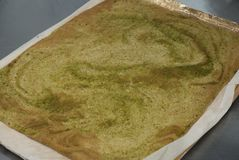 Japanese Green Tea Dough Baked Bread for Cake . Cooking Proces of Sweet Dessert Cake. stock photo