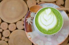 Japanese green tea matcha. Latte art with Japanese green tea matcha royalty free stock image