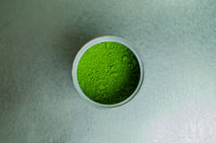 Japanese green tea powder in a can Royalty Free Stock Images