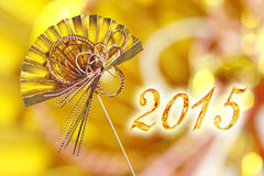 2015 japanese greeting card with golden fan. 2015 japanese greeting card with traditional decoration golden fan Stock Image