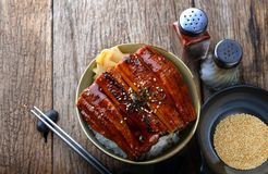Japanese grilled eel with rice. Japanese grilled eel with sweet sauce on rice cup or unagi kabayaki in Japanese menu name photo with indoor lighting stock photos