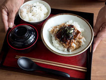Japanese grilled Saba Mackerel on rice. A meal set of Japanese grilled Saba Mackerel on rice and miso soup served on a tray Royalty Free Stock Image
