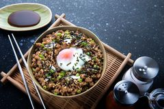 Japanese minced beef bowl. Stock Photos