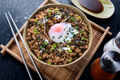 Japanese minced beef bowl. Royalty Free Stock Image