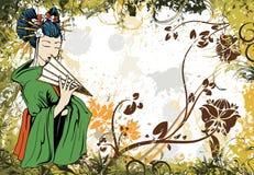 Japanese grunge floral background Royalty Free Stock Photo