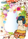 Japanese grunge floral background Royalty Free Stock Photography
