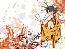 Japanese grunge floral background Stock Photos