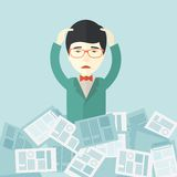 Japanese guy with paper works around him Stock Photo