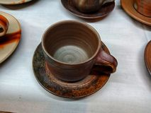 Japanese handcrafted coffee cup stock photo