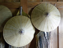 Japanese hats. These traditional straw hats hang in the reconstructed Hakone Checkpoint Royalty Free Stock Photography