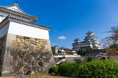 Japanese Himeiji castle with blue sky. Beautiful landscape at outdoor Stock Image