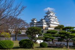 Japanese Himeiji Castle with blue sky. Beautiful scenery landscape at outdoor Royalty Free Stock Image