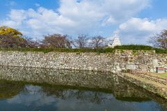 Japanese Himeiji Castle and canal. Beautiful scenery landscape at outdoor Stock Photography